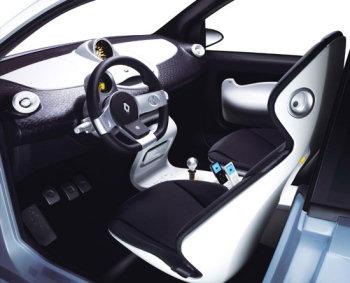 Présentation de l'aménagement intérieur du concept-car Renault Twingo Concept.